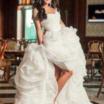 Woman bride in wedding dress indoor