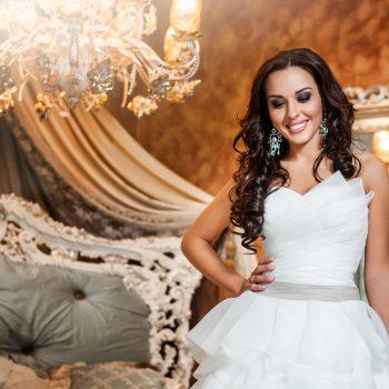 Beautiful woman bride in wedding dress